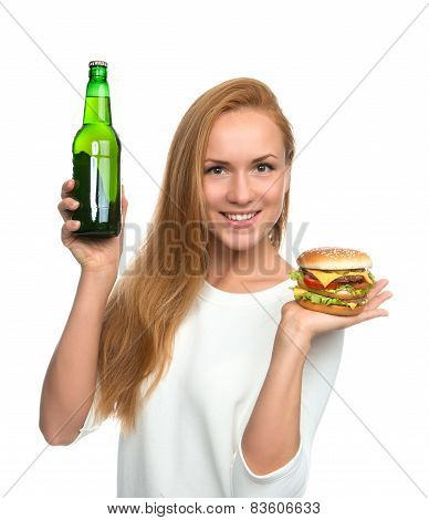 Woman Hold Burger Sandwich In Hand And Bottle Of Beer