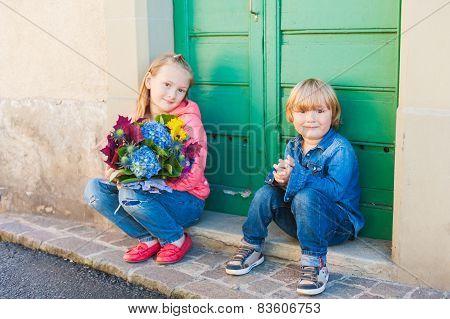 Outdoor portrait of fashion kids