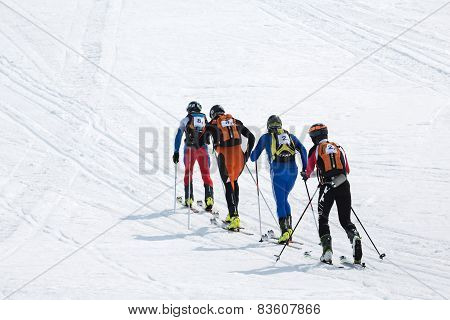 Ski Mountaineering Championships: Group Ski Mountaineer Rise To Mountain On Skis