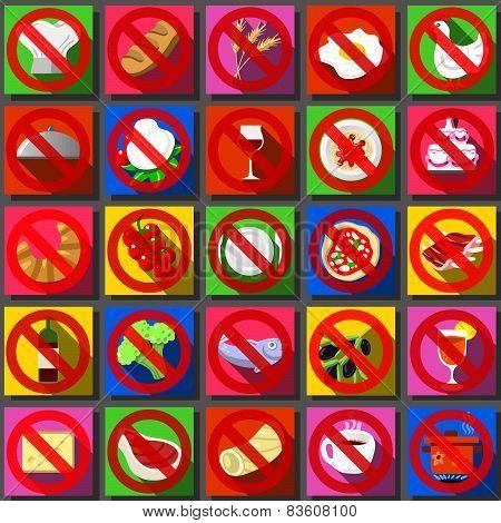 Twenty Five Square Flat Icon Italian Food Prohibition