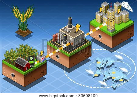 Isometric Infographic Biomass Source Renewable Energy Diagram
