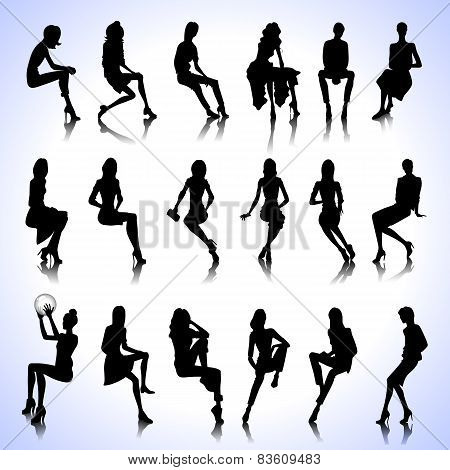 Set Of Sitting Women