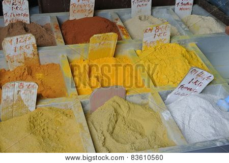 Various spices at Indian Market in Kuching, Malaysia