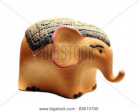 Ceramic Piggy Bank In The Form Of A White Elephant
