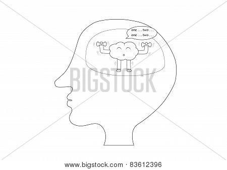 Linear Brain Cartoon Exercise Inside Human Head