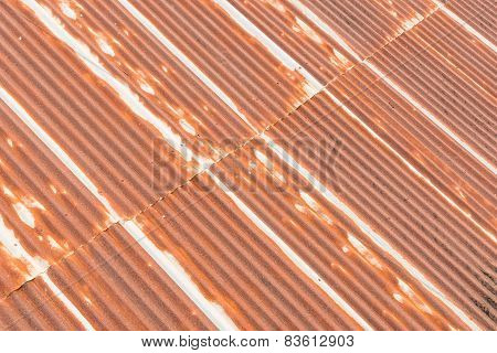 Old Rusty Galvanized Steel Of Old Roof
