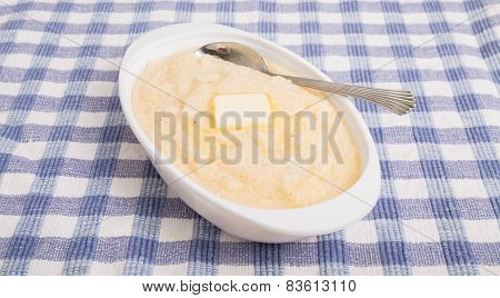 Oval Bowl Of Corn Grits On Angle