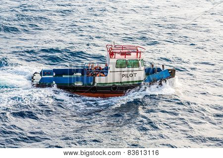 Pilot Boat Cutting Through Choppy Sea