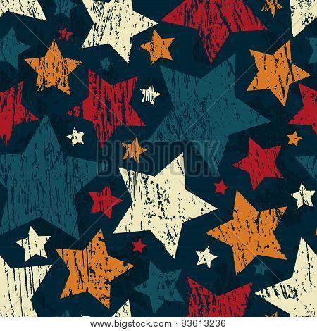 Grunge Star Seamless Pattern