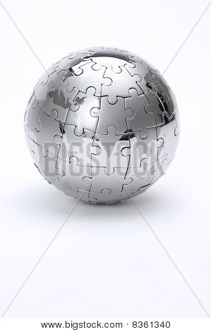 Metal Puzzle Globe Isolated