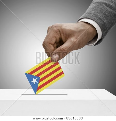 Black Male Holding Flag. Voting Concept - Estelada - Catalan Republic