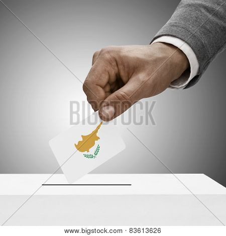 Black Male Holding Flag. Voting Concept - Republic Of Cyprus