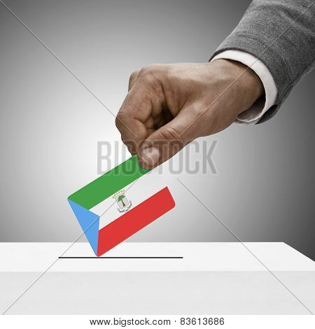 Black Male Holding Flag. Voting Concept - Equatorial Guinea