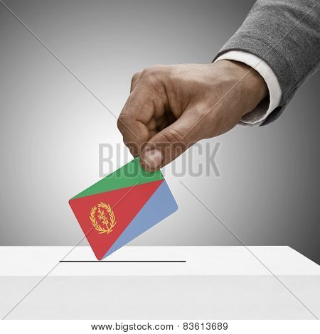 Black Male Holding Flag. Voting Concept - Eritrea