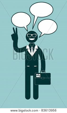 Icon black man with dialogue, vector illustration