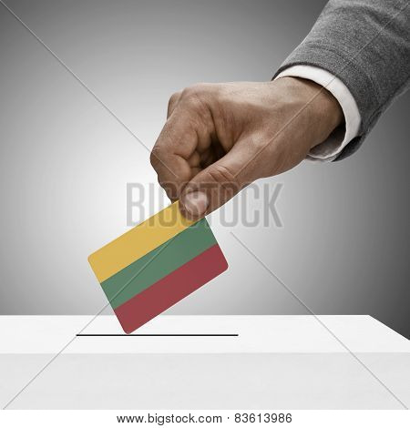 Black Male Holding Flag. Voting Concept - Lithuania