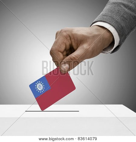 Black Male Holding Flag. Voting Concept - Republic Of The Union Of Myanmar