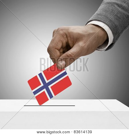 Black Male Holding Flag. Voting Concept - Norway