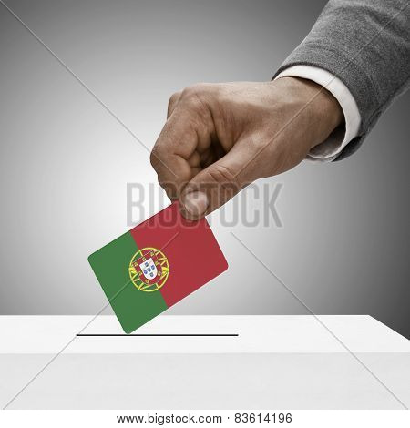 Black Male Holding Flag. Voting Concept - Portugal