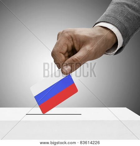 Black Male Holding Flag. Voting Concept - Russia