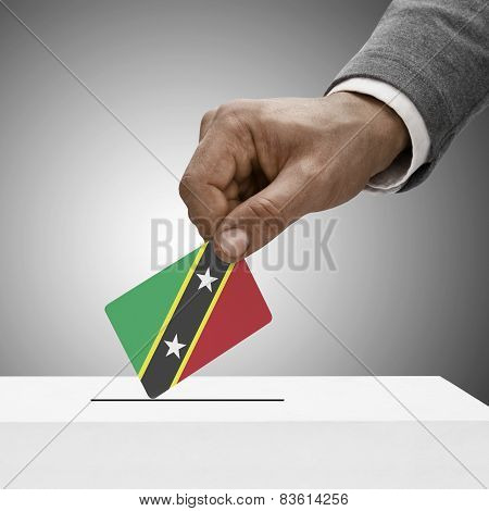Black Male Holding Flag. Voting Concept - Saint Kitts And Nevis