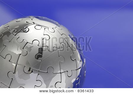 Metal Puzzle Globe, close-up