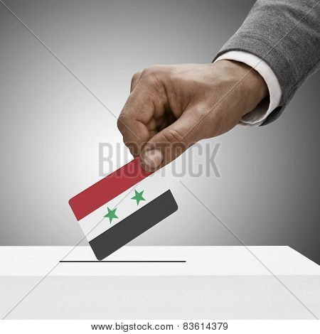 Black Male Holding Flag. Voting Concept - Syria