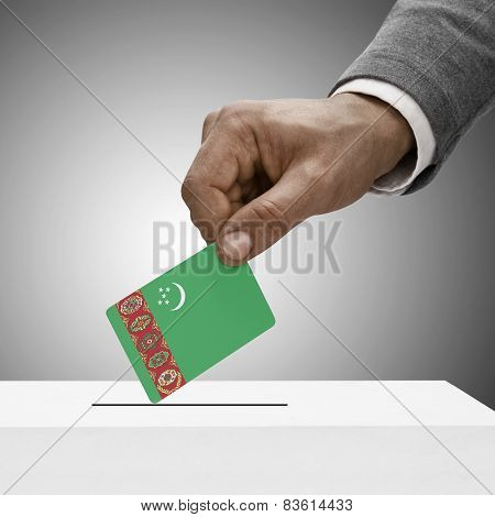 Black Male Holding Flag. Voting Concept - Turkmenistan