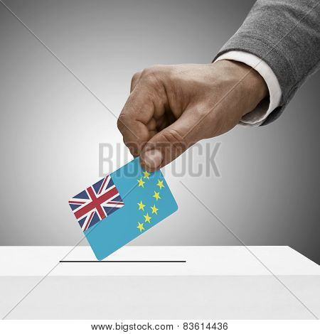 Black Male Holding Flag. Voting Concept - Tuvalu