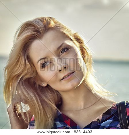 Portrait Of A Young Beautiful Sensual Blonde Girl