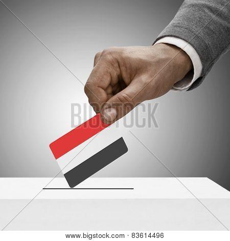 Black Male Holding Flag. Voting Concept - Yemen