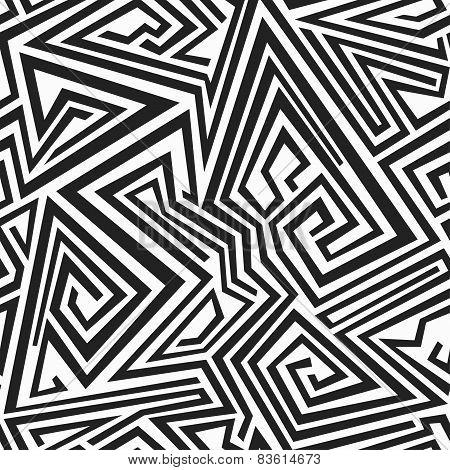 Monochrome Spiral Lines Seamless Pattern