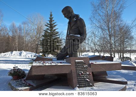 NIZHNY TAGIL, RUSSIA - FEBRUARY 17, 2015: Photo of Monument-tagilchanam killed in local wars.