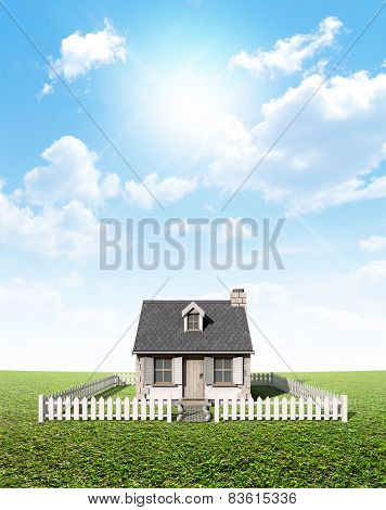 Cottage On Green Lawn