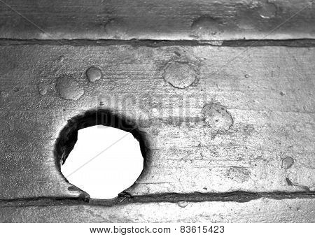 Antique Wood Board With A Circular Hole