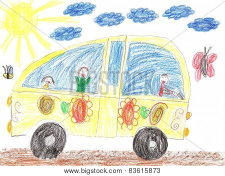 Children Drawing Car Trip