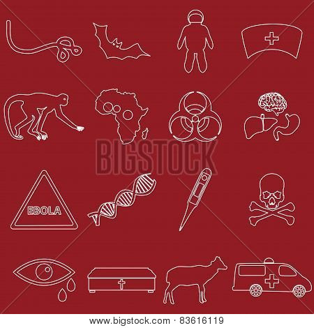 Ebola Disease Outline White Icons Set Eps10