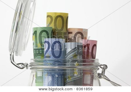 Money in a jar, close-up