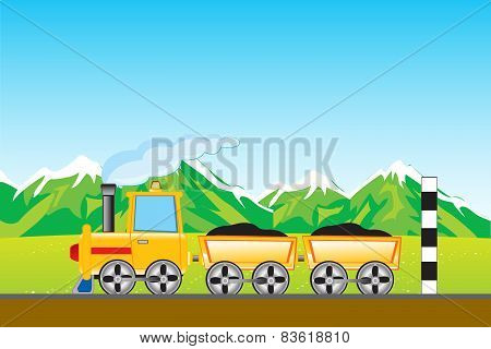 Cargo locomotive in mountain