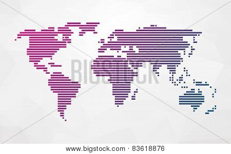 Simple World Map Made Up Of Colored Stripes On A Bright Triangular Background