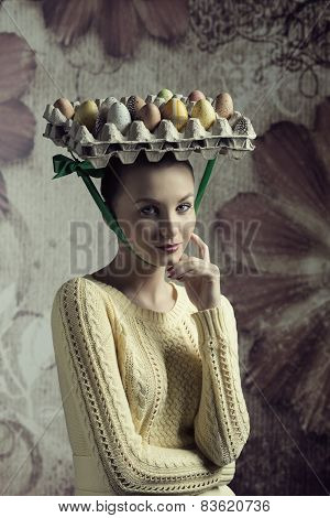Girl In Creative Easter Portrait