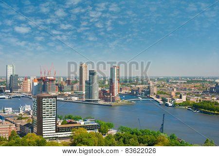 Rotterdam And Nieuwe Maas River