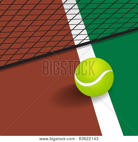 Tennis Ball On Court Corner Line