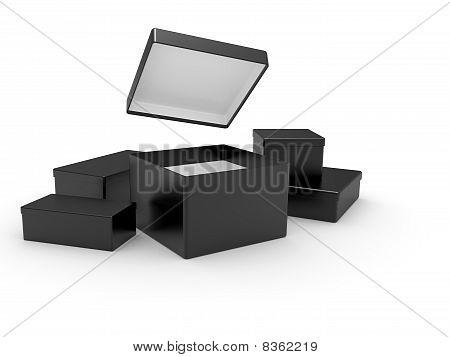 Black Opened Cardboard, Box 3D