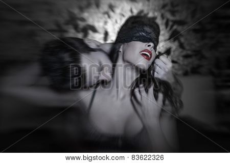Hot Passionate Lovers At Night In Motion