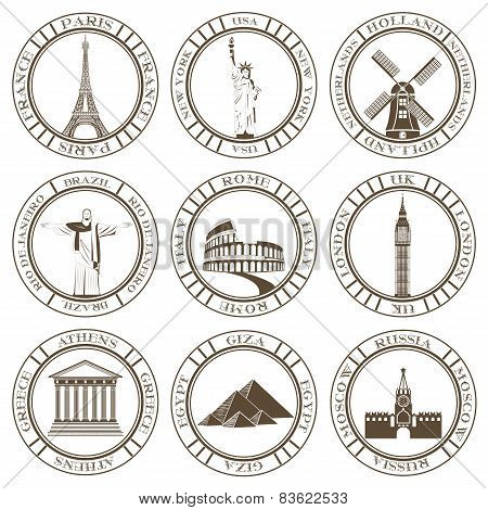 Set of Vector Icons. Travel and Sightseeing.