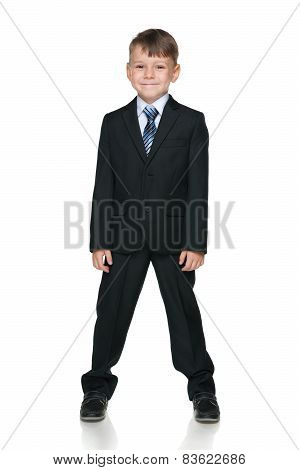School Boy Against The White Background
