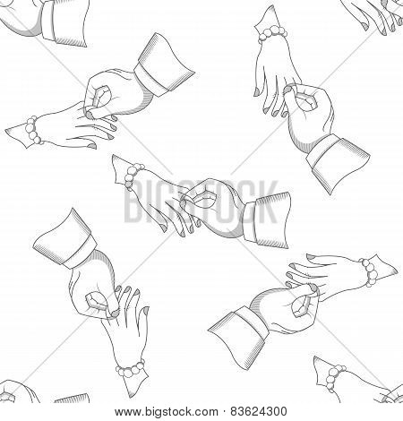 Vector Wedding pattern men and women hands