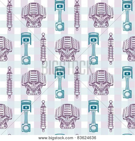 Vector seamless pattern parts sports car