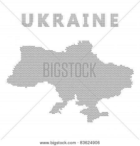 Ukraine Map With Gray Dot.